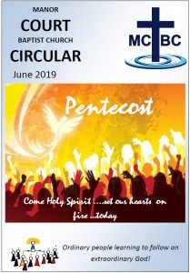 Magazine front page with MCBC logo and drawing of people recieving the dove of the Holy Spirit at Pentecost