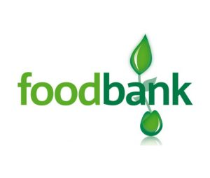 Foodbank logo in green with shoots of plant growing from it.